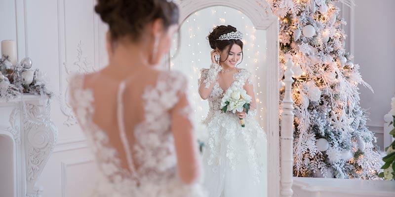 préparatif mariée mariage en hiver